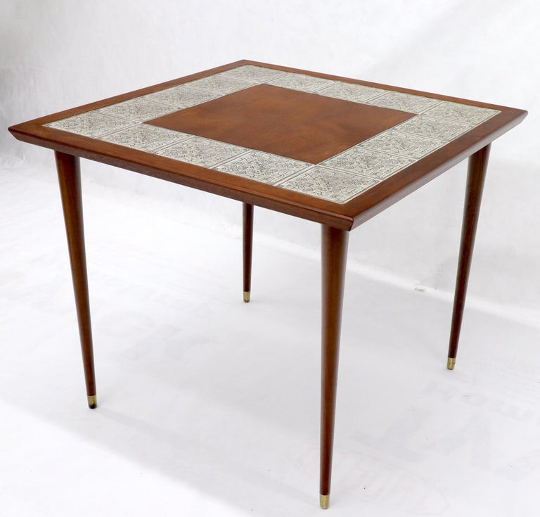 American Oiled Walnut Decorative Art Tile Top Game Table on Tapered Legs Brass Tips For Sale
