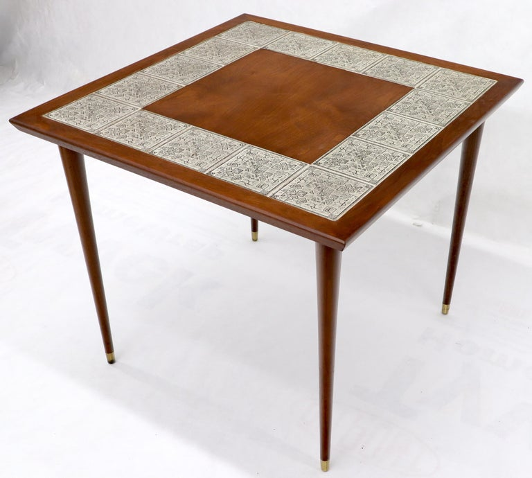 Oiled Walnut Decorative Art Tile Top Game Table on Tapered Legs Brass Tips In Excellent Condition For Sale In Rockaway, NJ