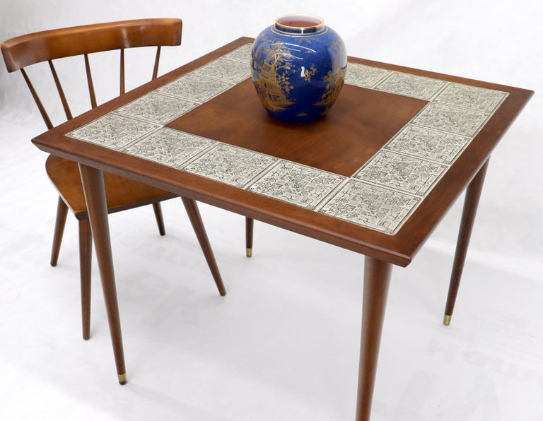 20th Century Oiled Walnut Decorative Art Tile Top Game Table on Tapered Legs Brass Tips For Sale