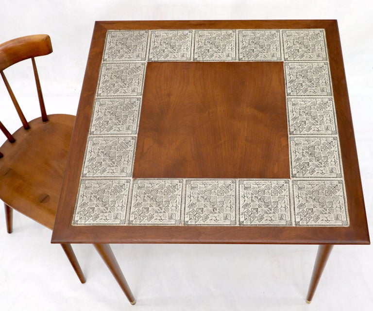 Oiled Walnut Decorative Art Tile Top Game Table on Tapered Legs Brass Tips For Sale 1