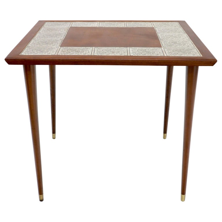Oiled Walnut Decorative Art Tile Top Game Table on Tapered Legs Brass Tips For Sale