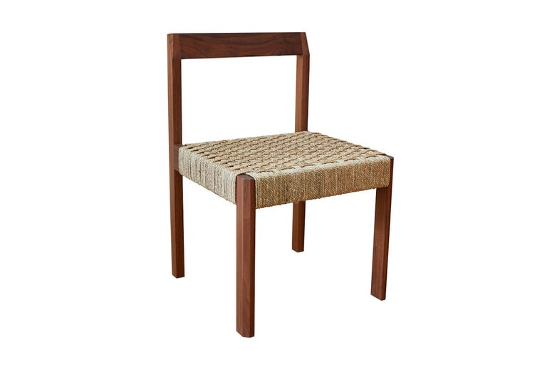 American Oiled Walnut Faceted Armless Dining Chair with Danish Cord by Casey McCafferty For Sale