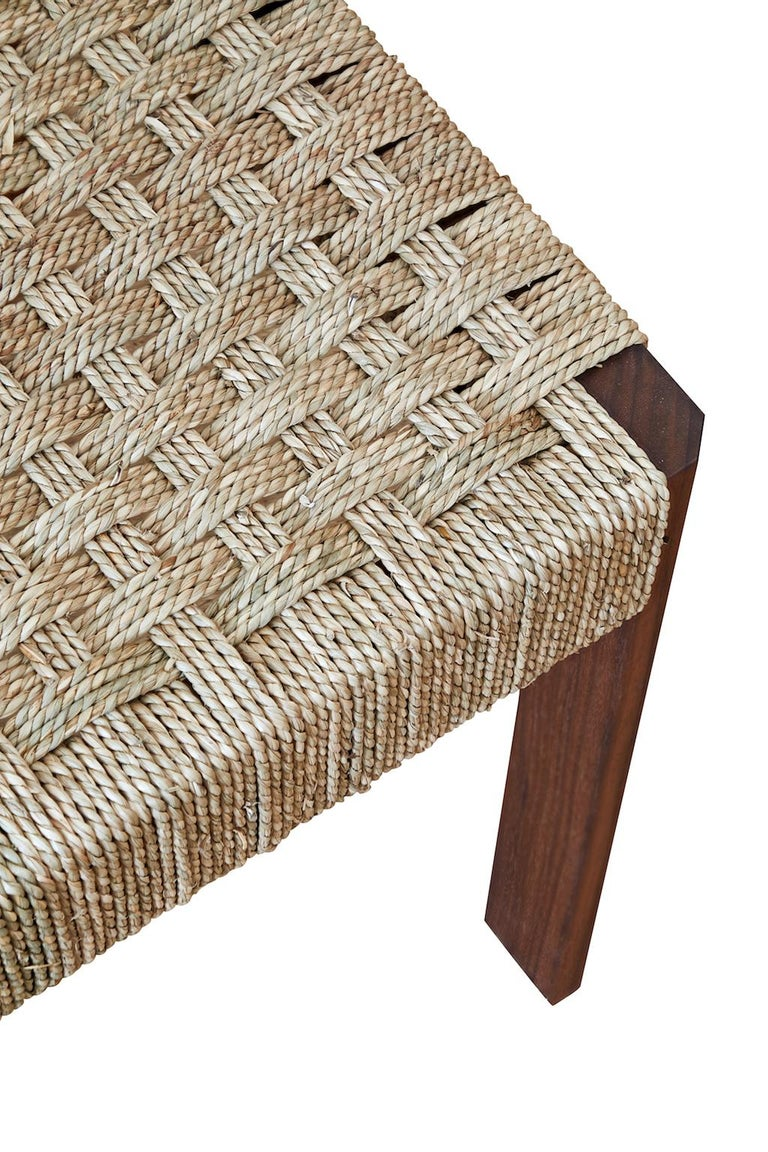 Blackened Oiled Walnut Faceted Armless Dining Chair with Danish Cord by Casey McCafferty For Sale