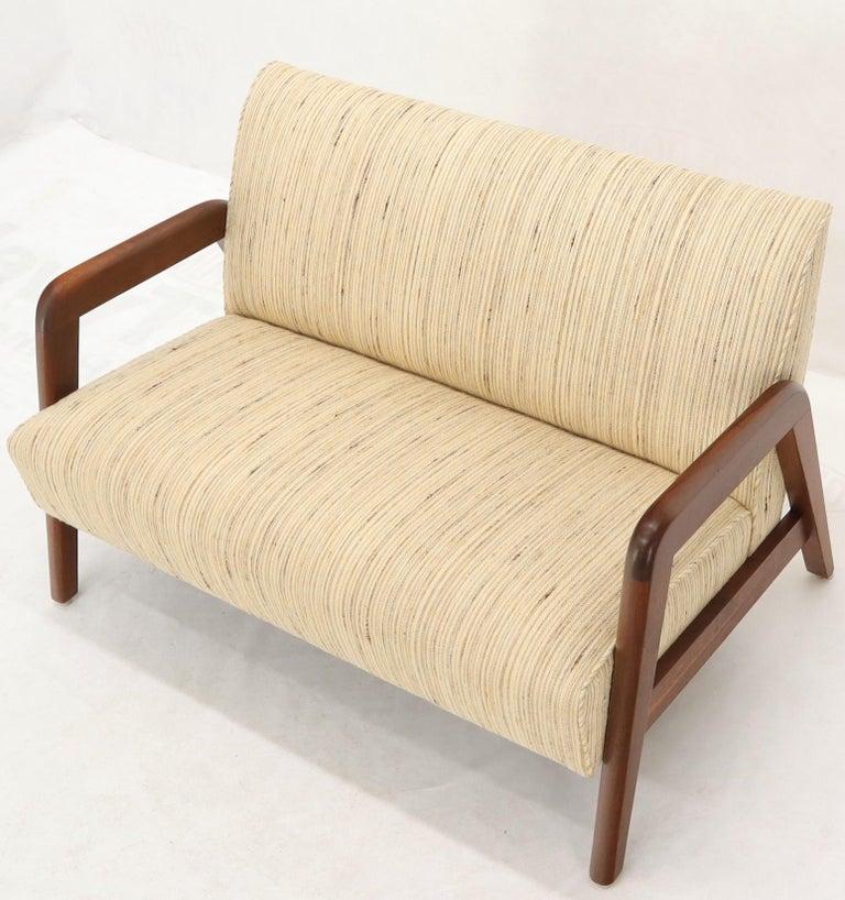 Oiled Walnut Frame New Raw Wool Upholstery Loveseat Sofa Sette For Sale 4