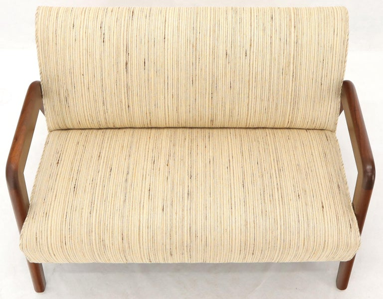 Oiled Walnut Frame New Raw Wool Upholstery Loveseat Sofa Sette For Sale 5