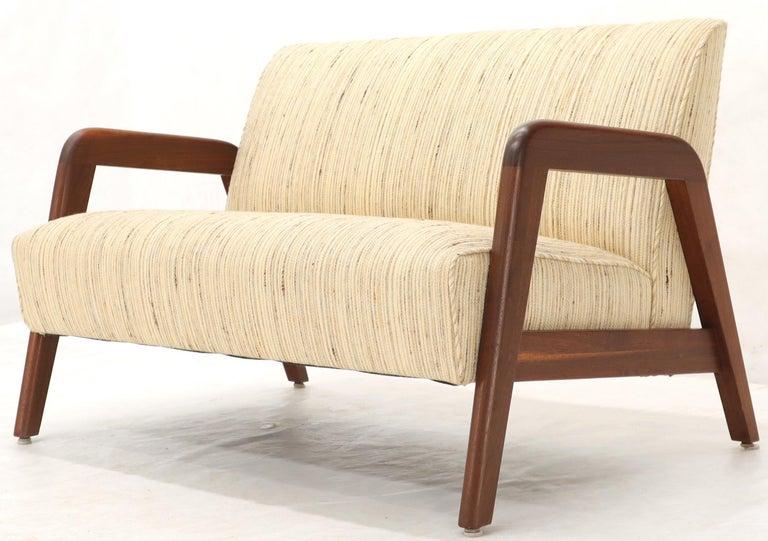 Oiled Walnut Frame New Raw Wool Upholstery Loveseat Sofa Sette For Sale 6