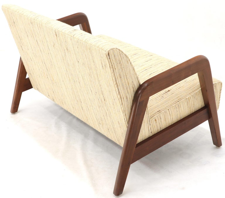 Mid-Century Modern Adrian Pearsall style love seat sofa. Newly upholstered in raw wool like fabric.