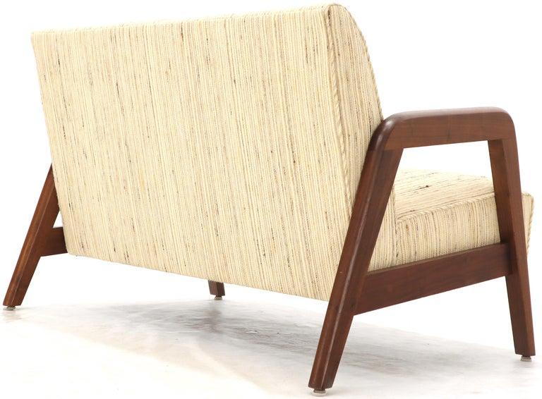 Mid-Century Modern Oiled Walnut Frame New Raw Wool Upholstery Loveseat Sofa Sette For Sale