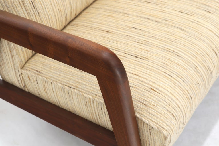 20th Century Oiled Walnut Frame New Raw Wool Upholstery Loveseat Sofa Sette For Sale