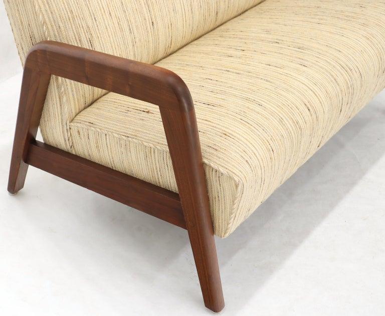 Oiled Walnut Frame New Raw Wool Upholstery Loveseat Sofa Sette For Sale 1