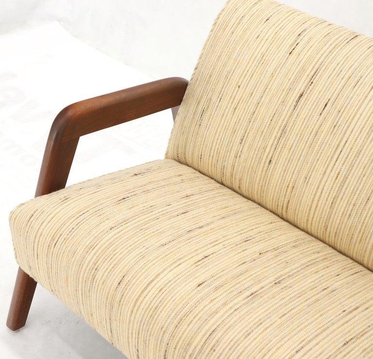 Oiled Walnut Frame New Raw Wool Upholstery Loveseat Sofa Sette For Sale 3