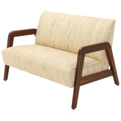 Oiled Walnut Frame New Raw Wool Upholstery Loveseat Sofa Sette
