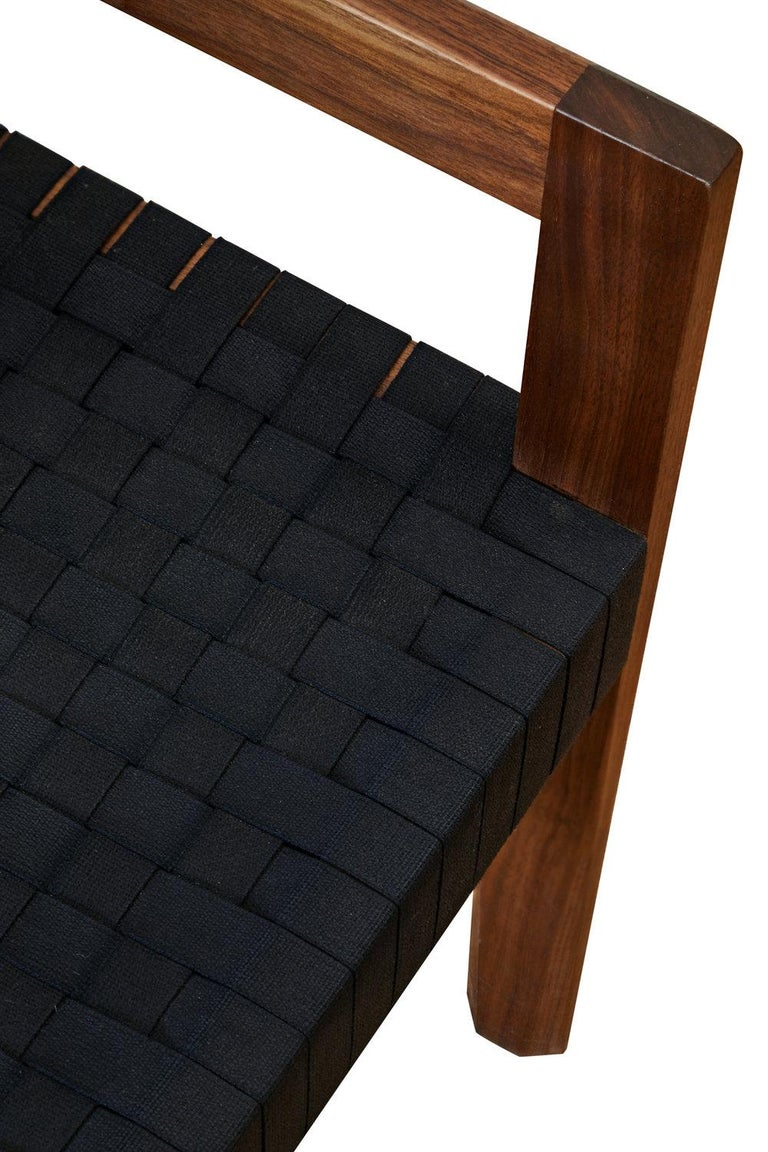 Blackened Oiled Walnut Handwoven Shaker Tape Faceted Dining Chair by Casey McCafferty For Sale