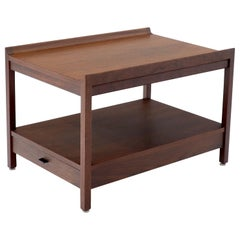 Oiled Walnut Mid-Century Modern Rectangle Two-Tier Side End Table