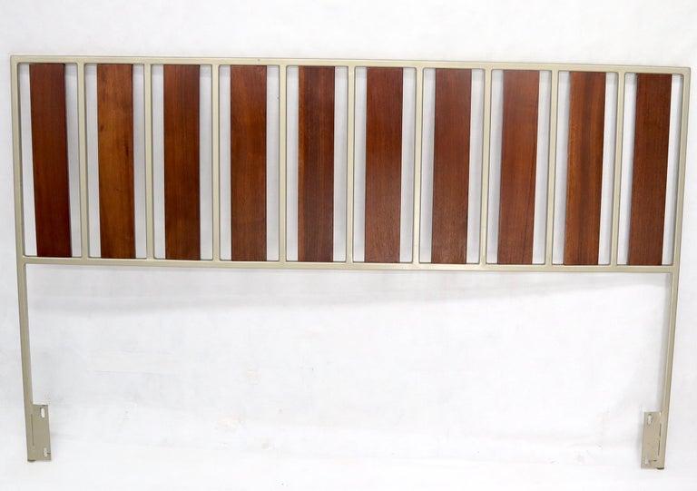 George Nelson, Knoll decor minimalistic Mid-Century Modern oiled walnut slats steel frame striped clean lines headboard bed.
