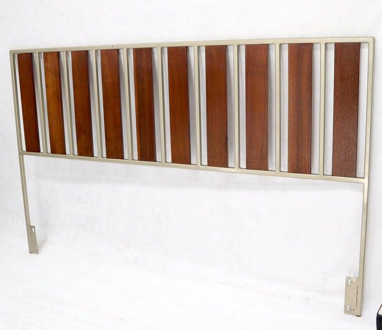 Mid-Century Modern Oiled Walnut Slats Full Size Minimalist Headboard Bed For Sale