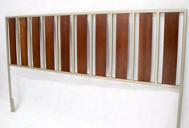American Oiled Walnut Slats Full Size Minimalist Headboard Bed For Sale