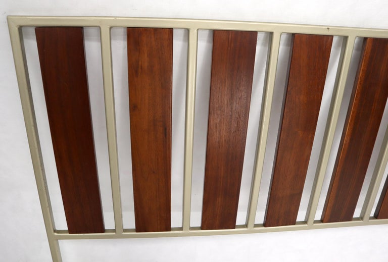 Enameled Oiled Walnut Slats Full Size Minimalist Headboard Bed For Sale