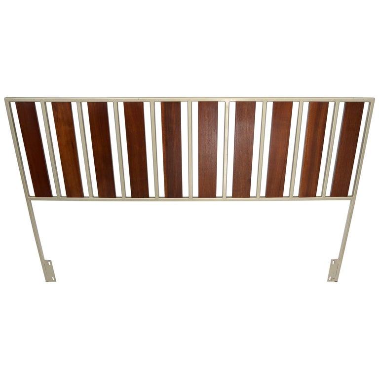 Oiled Walnut Slats Full Size Minimalist Headboard Bed For Sale