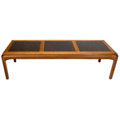 Oiled Walnut Three Sections Faux Slate Top Rectangular Coffee Table