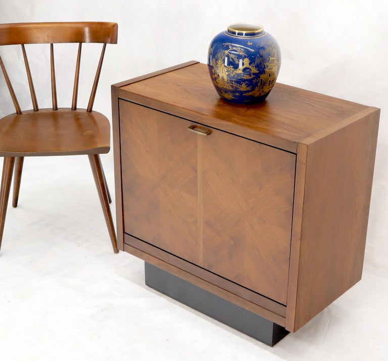 Mid-Century Modern tilt front door record cabinet or a bookcase in a shape of end side table.