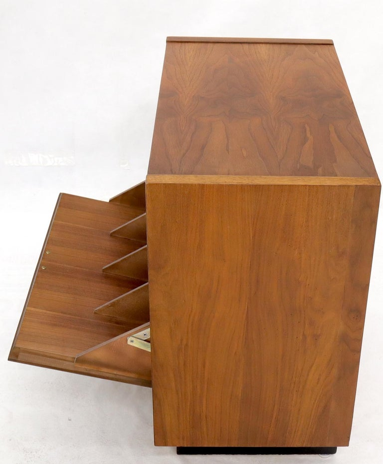 Mid-Century Modern Oiled Walnut Tilt Front Door End Side Table Record Cabinet For Sale