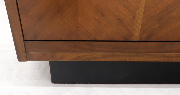 20th Century Oiled Walnut Tilt Front Door End Side Table Record Cabinet For Sale