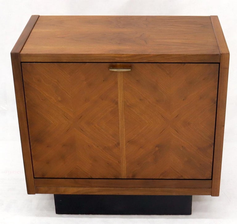 Oiled Walnut Tilt Front Door End Side Table Record Cabinet For Sale 1