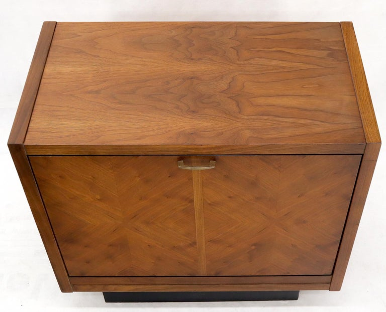 Oiled Walnut Tilt Front Door End Side Table Record Cabinet For Sale 3