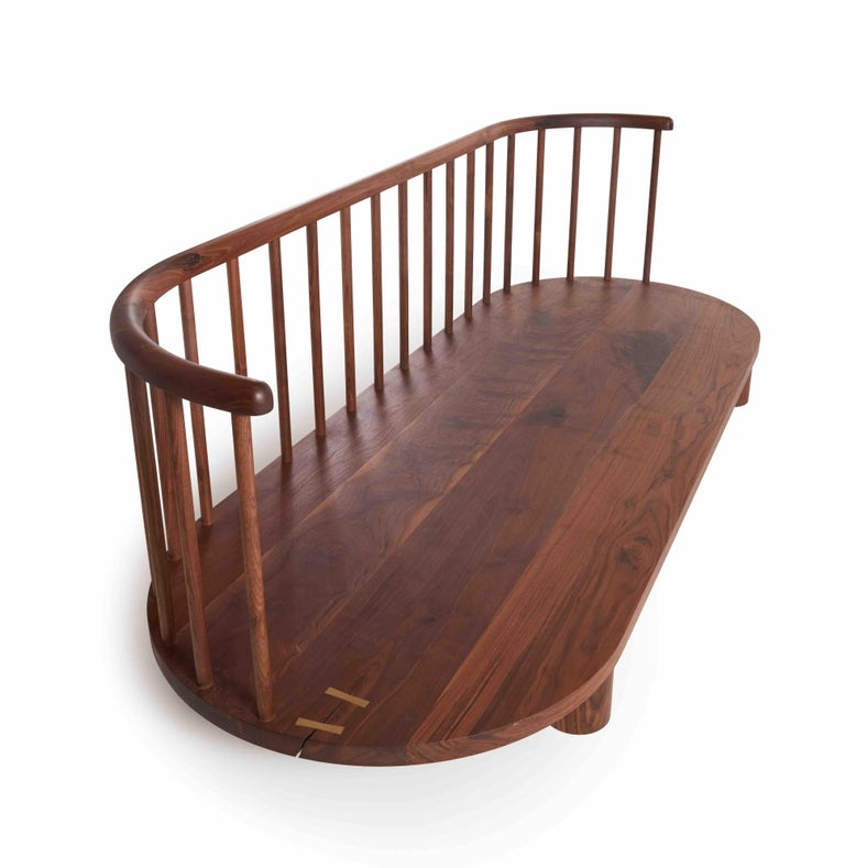 American Oiled Walnut with Spindle Back Bone Sofa by Casey McCafferty For Sale