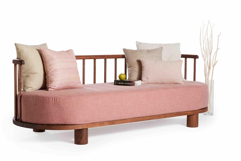 Oiled Walnut with Spindle Back Bone Sofa by Casey McCafferty In New Condition For Sale In Santa Monica, CA