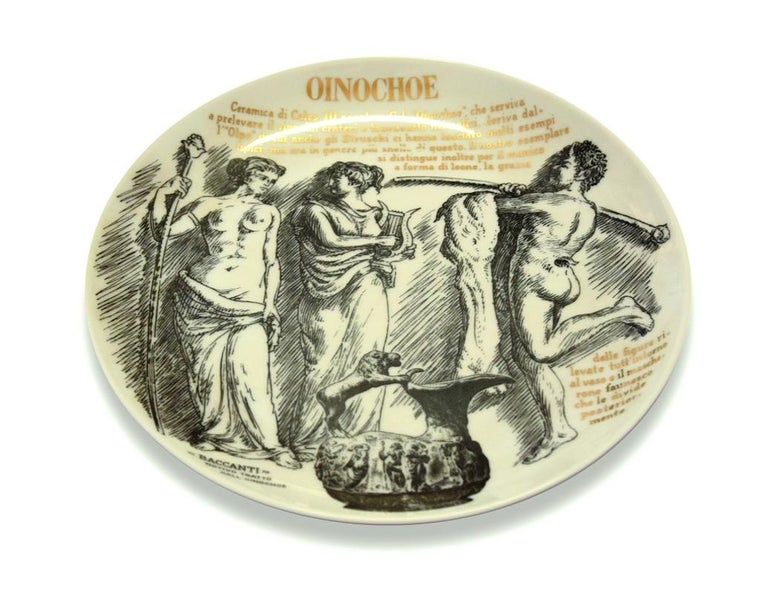 This Oinochoe is an elegant silk-screened porcelain plate, designed by Piero Fornasetti for Martini & Rossi in 1960s.