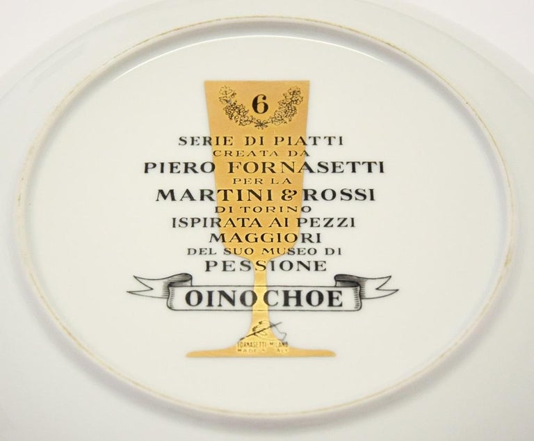 Italian Oinochoe Plate for Martini & Rossi, by P. Fornasetti, 1960s For Sale