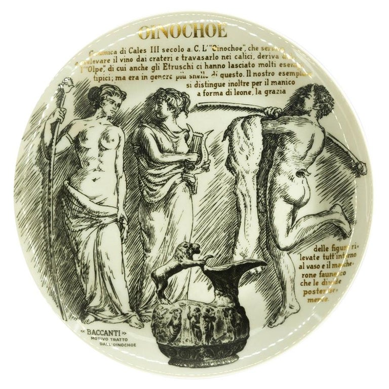 Oinochoe Plate for Martini & Rossi, by P. Fornasetti, 1960s For Sale
