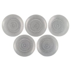 Oiva Toikka for Arabia, Five Kastehelmi Plates in Clear Art Glass