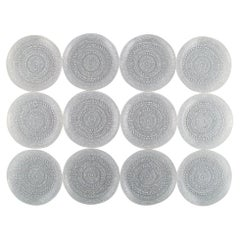 Oiva Toikka for Arabia, Twelve Kastehelmi Plates in Clear Art Glass
