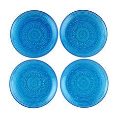 "Oiva Toikka for Nuutajärvi, ""Kastehelmi"" Four Plates in Blue Art Glass"