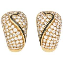 OJ Perrin Black Enamel Heart and Diamond Hoop Earrings in 18 Karat Yellow Gold