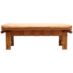 Tan Leather and Oiled Oak Ojai Bench by Lawson-Fenning