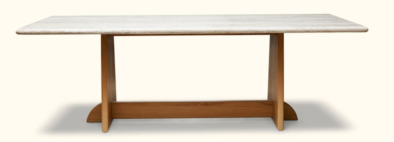 """The Ojai dining table features a trestle base made of solid wood and the option of a stone or solid wood top.  Measures: 84""""solid $5,550 96""""solid $6,550 108""""solid $7,550  84"""" stone $10,500 96""""stone $11,500 108""""stone $13,500."""