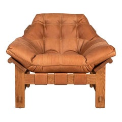 Oiled Oak and Tan Leather Ojai Lounge Chair by Lawson-Fenning