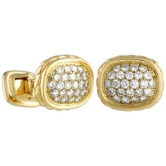 O.J.Perrin Diamond Yellow Gold Cufflinks