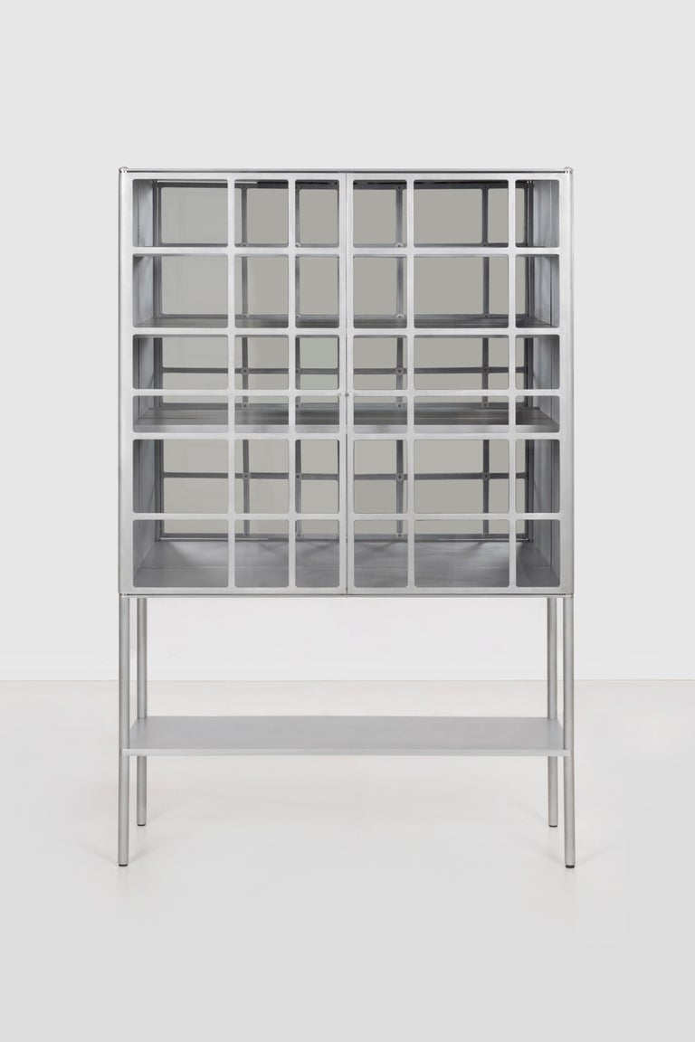 American OK Whiskey Cabinet by Jonathan Nesci in Machined and Waxed Aluminum Plate For Sale