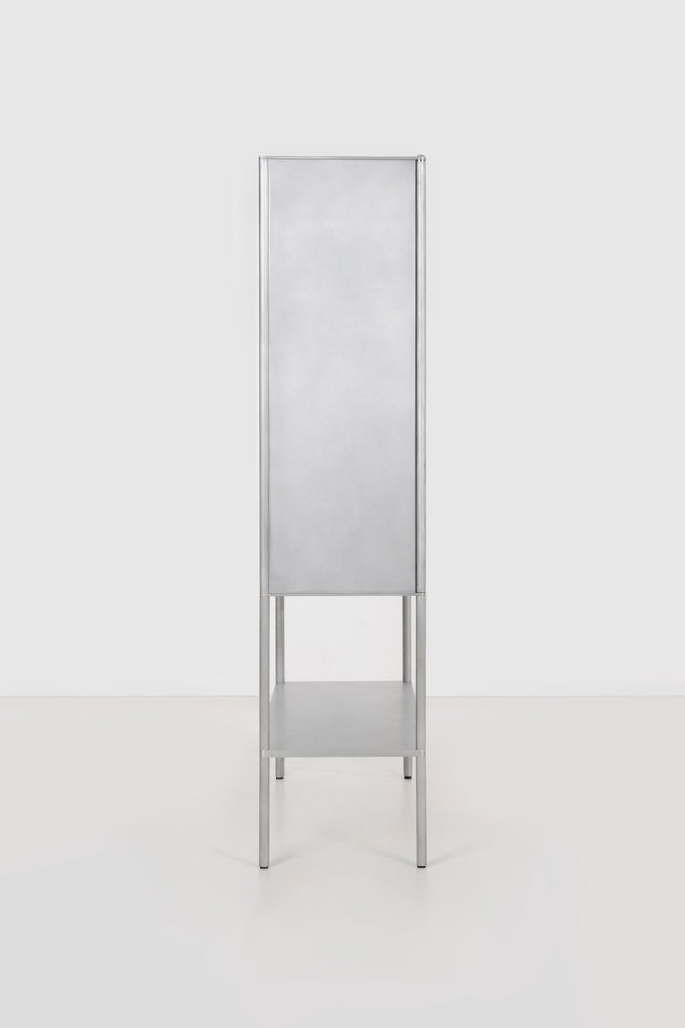 Contemporary OK Whiskey Cabinet by Jonathan Nesci in Machined and Waxed Aluminum Plate For Sale