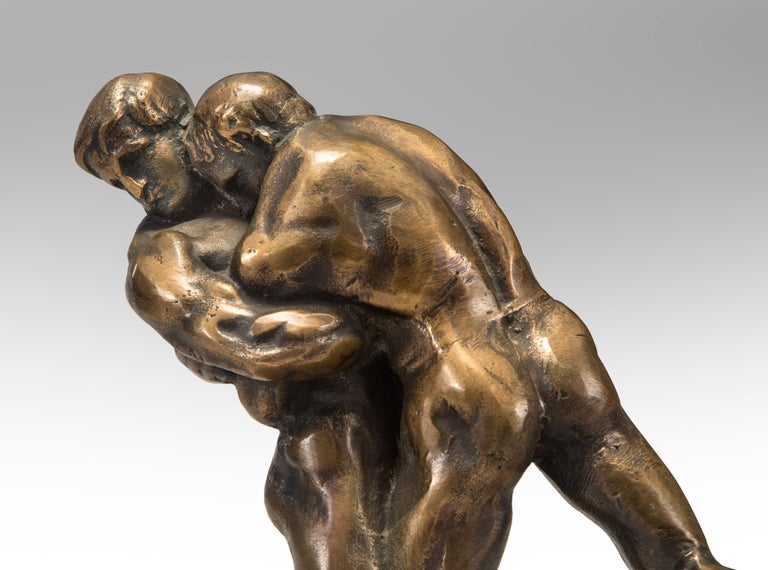 Okänd Konstnär, Swedish patinated bronze sculpture of Wrestlers early 20th century Depicting two male wrestlers locked in combat. The richly patinated bronze highlighted by contrasting tonalities.