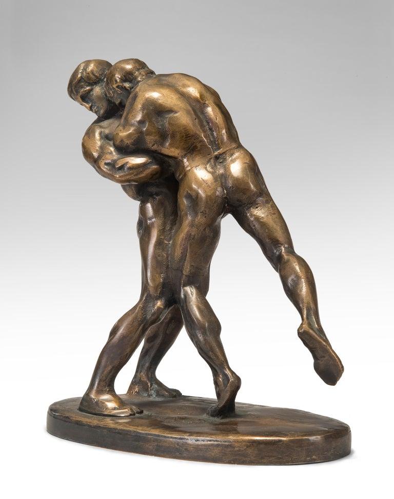 Modern Okänd Konstnär, Swedish Patinated Bronze Sculpture of Wrestlers For Sale