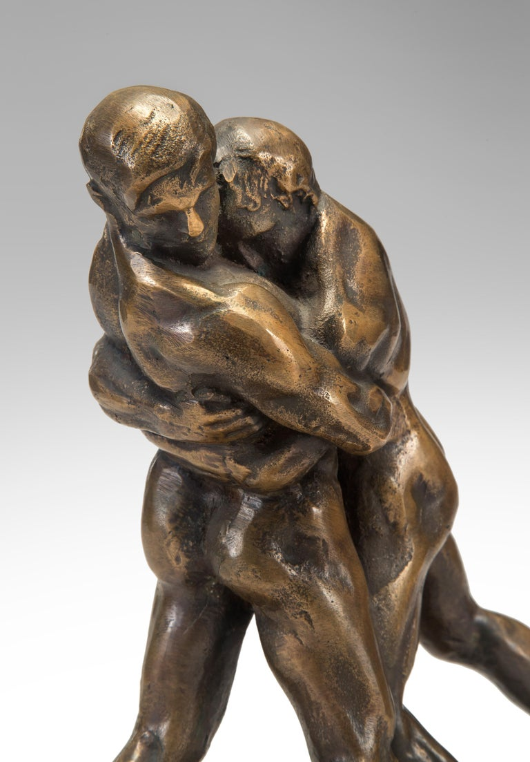 Okänd Konstnär, Swedish Patinated Bronze Sculpture of Wrestlers In Excellent Condition For Sale In New York, NY