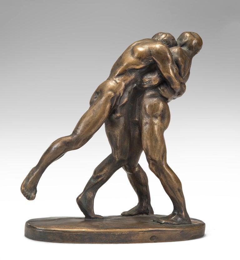 20th Century Okänd Konstnär, Swedish Patinated Bronze Sculpture of Wrestlers For Sale