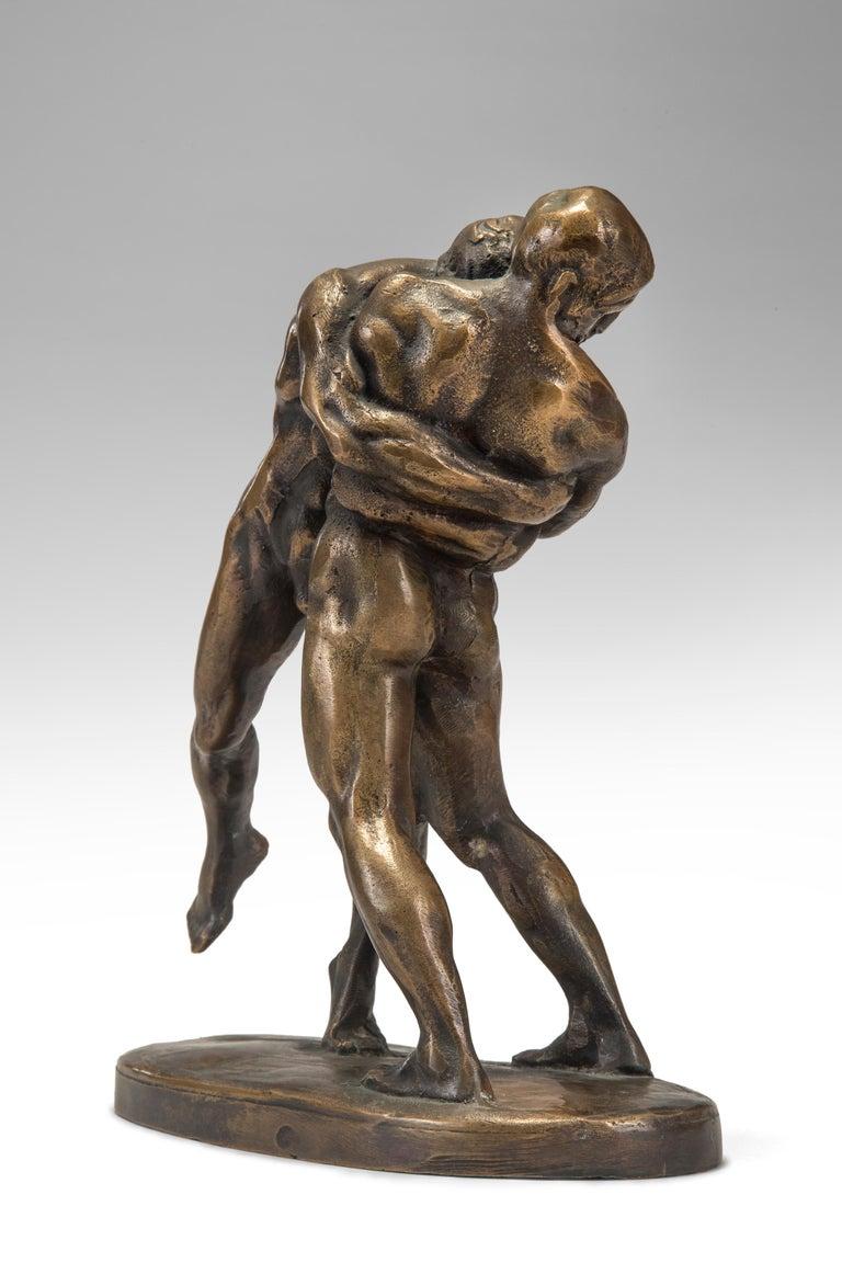 Okänd Konstnär, Swedish Patinated Bronze Sculpture of Wrestlers For Sale 1