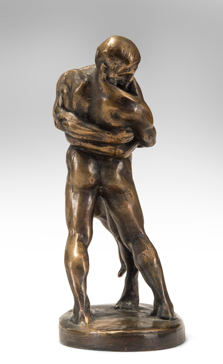 Okänd Konstnär, Swedish Patinated Bronze Sculpture of Wrestlers For Sale 2